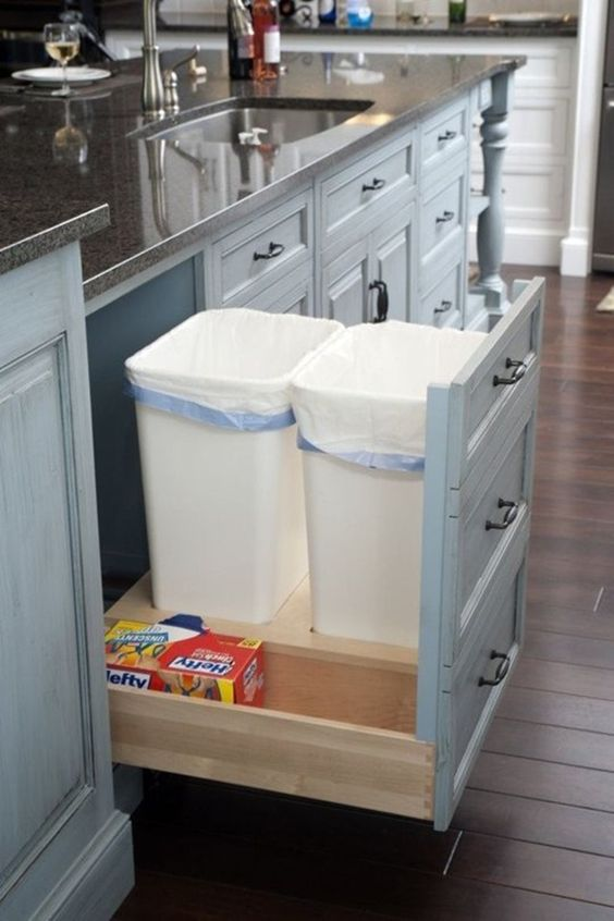 Painted Kitchen Trash Cans