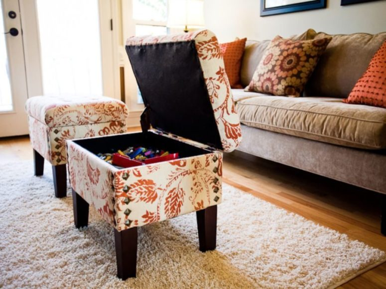upholstered ottomans or coffee tables with storage space inside is a great idea for any tight space