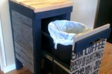 industrial trash storage for a kitchen