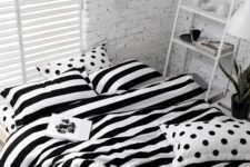 08 black and white striped and polka dot bedding will be a nice choice for many bedroom styles