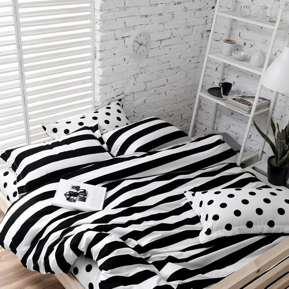 black and white striped and polka dot bedding will be a nice choice for many bedroom styles