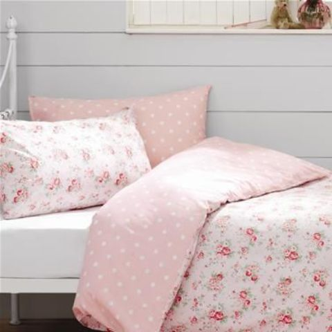 cute floral and pink and white polka dot bedding for a vintage or shabby chic bedroom