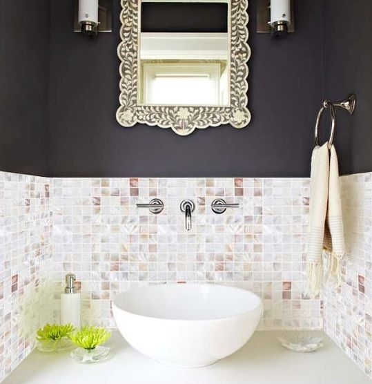 mother or pearl small square tiles for an eye-catchy bathroom backsplash