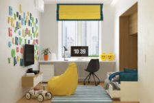 10 The kid's room is done in white, teal and yellow, the study zone is taken to a windowsill, which is a great space solution