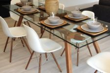 10 a chic modern table with wooden legs and a frame looks both modern and rustic