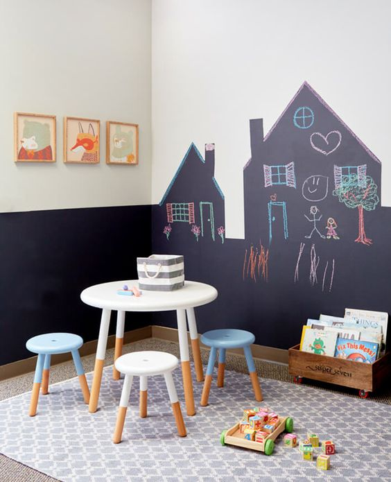 a drawing and painting zone with a chalkboard wall, a table and stools and kids' art pieces on the wall