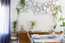 10 a hex framed mirror arrangement is a cool and eye-catchy decoration for this space