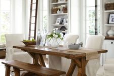10 in this white space the trestle dining table is highlighted with a matching bench