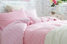 10 pink polka dot bedding and some neutral fabrics for a girl's space