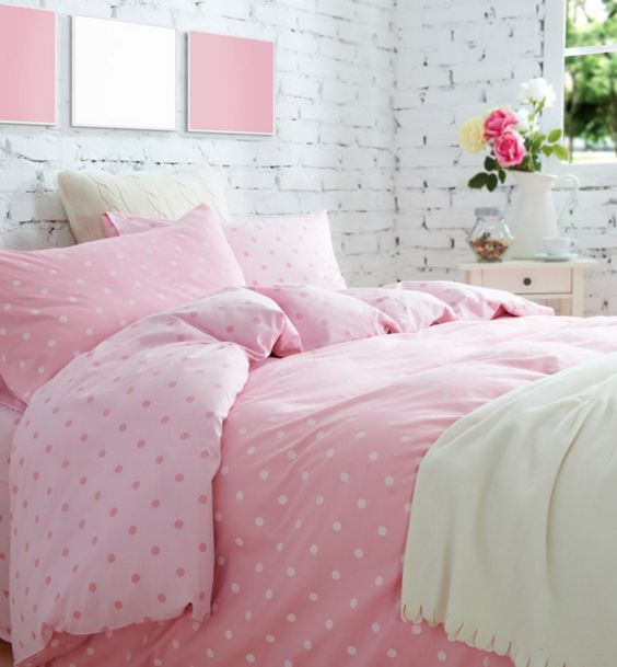 Black White Pink Polka Dot Bedding