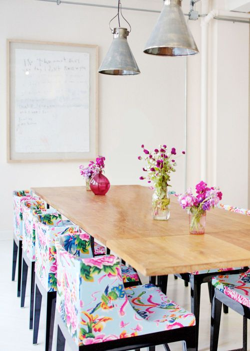 spruce up your dining room with floral upholstery chairs - a gorgeous idea for spring or summer