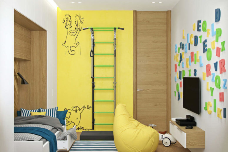 Bold yellow accents make the space lively and cool