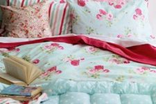 11 mint blue, white and pink bedding set with polka dots, floral prints and stripes