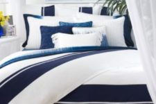 12 coast and beach inspired bedding set with large navy and indigo stripes
