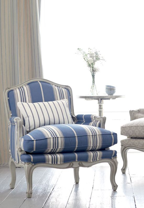 refined blue and white striped chair is ideal for a coastal interior