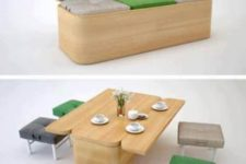 13 a modern sofa can be turned into a dining table and some poufs and stools