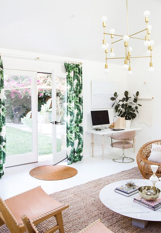 banana leaf print curtains are an easy and budget-friendly way to spruce up your space for summer