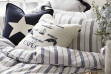 14 a nautical bedding set with stripes, stars and nautical prints