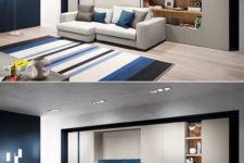14 a sofa system that can act as a bed allows turning a living room into a bedroom