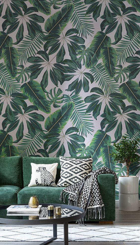 30 stylish and timeless tropical leaf d cor ideas digsdigs for Next living room wallpaper
