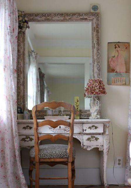 an antique desk painted blush can be used as a vanity in a girl's bedroom, looks very refined and chic