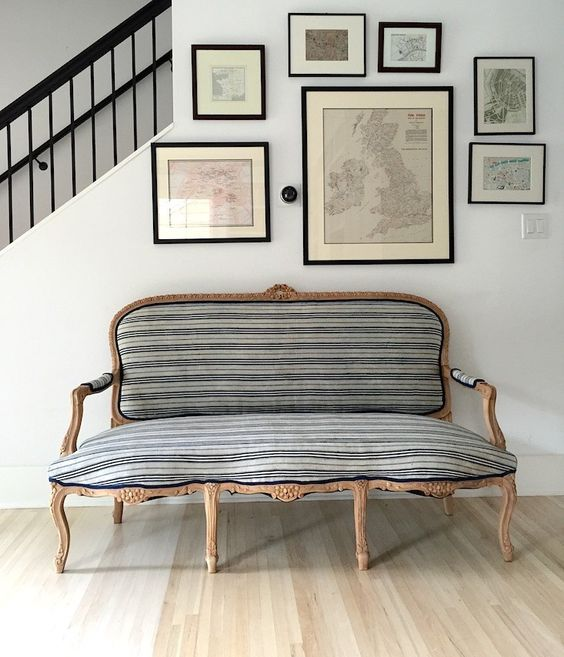 an entryway will be more refined with an exquisite striped sofa
