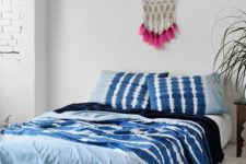 16 indigo noodle stripe bedding for a boho space