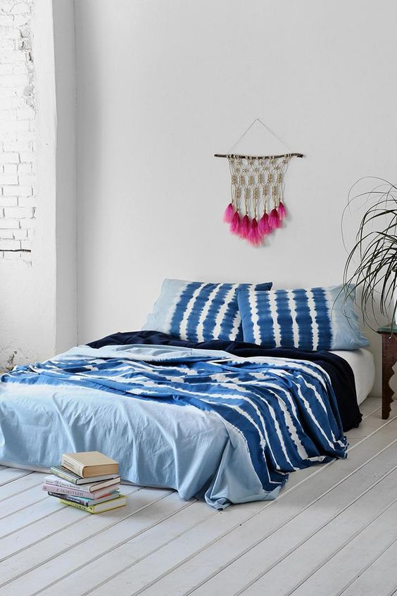 indigo noodle stripe bedding for a boho space