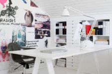 17 a modern version of trestle desk in white looks amazing in this girl's home office
