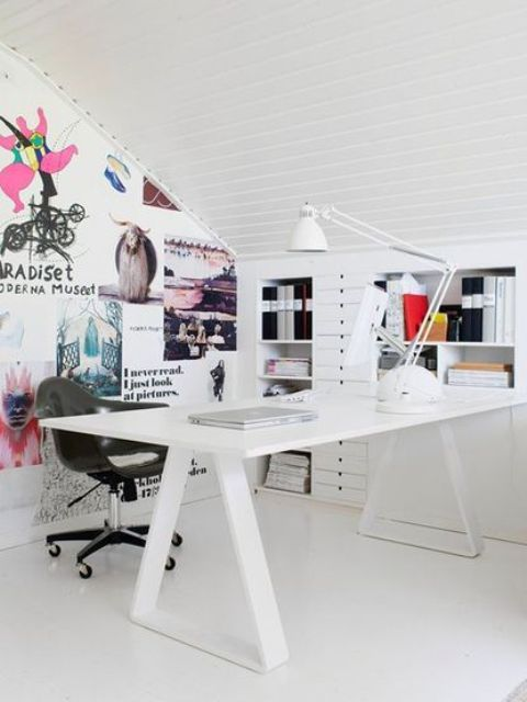 a modern version of trestle desk in white looks amazing in this girl's home office