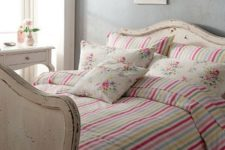 17 colorful striped vintage-inspired bedding with floral print pillow cases