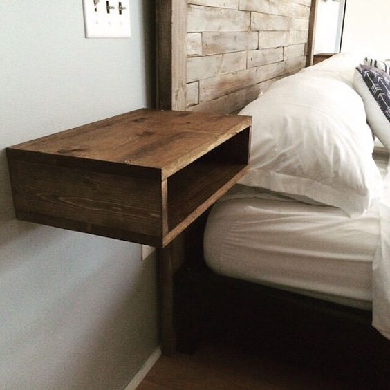 29 coolest floating nightstands and bedside tables digsdigs for Wall mounted nightstand diy