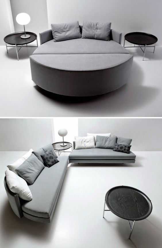 a cozy round upholstered bed can be turned into two cool sofas, which is great for one-room apartments