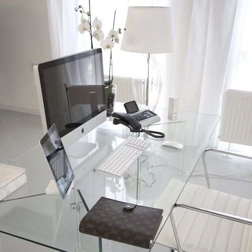 white airy home office. a modern allwhite home office in white with clear allglass desk airy d