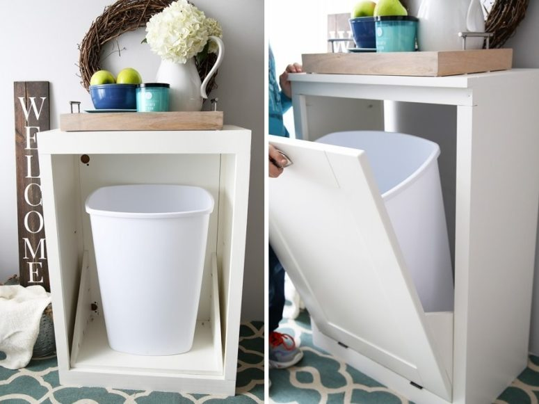 A Simple White Tilt Out Cabinet For Hidhing Your Trash Can Inside