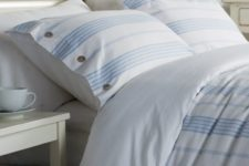 18 blue and white striped bedding set with buttons for a peaceful coastal bedroom