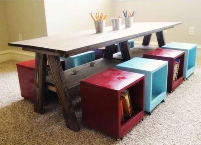 box stools with books and magazines and other stuff inside is a great idea that doesn't take space