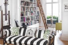 18 make a white space more eye-catchy with a striped black and white sofa