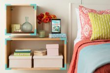 18 wooden boxes turned into cool nightstands and decorated with turquoise washi tape