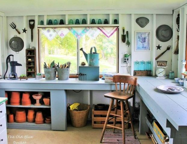a backyard she shed for a gardening fan with all the necessary things