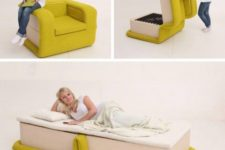 19 a comfy colorful chair with a modern design becomes a cool daybed