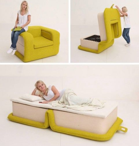 a comfy colorful chair with a modern design becomes a cool daybed