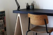 19 adapt your trestle desk to the style of your space like here – the desktop was painted black to make it look more masculine
