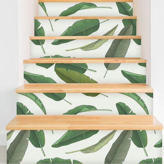banana leaf wallpaper used for sprucing up the stairs for summer