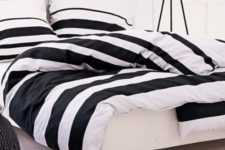 19 wide black and white striped bedding for a modern and laconic bedroom