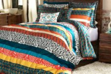 20 colorful patchwork striped bedding for a rustic, woodland or boho bedroom