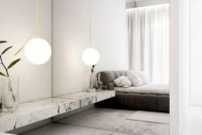 21 a mirror wall is used to make the laconic bedroom more interesting