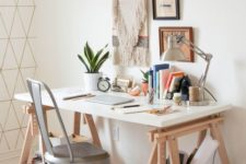21 a trestle desk like this one is a perfect for a boho home office with a vintage feel