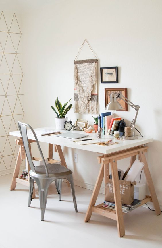 a trestle desk like this one is a perfect for a boho home office with a vintage feel
