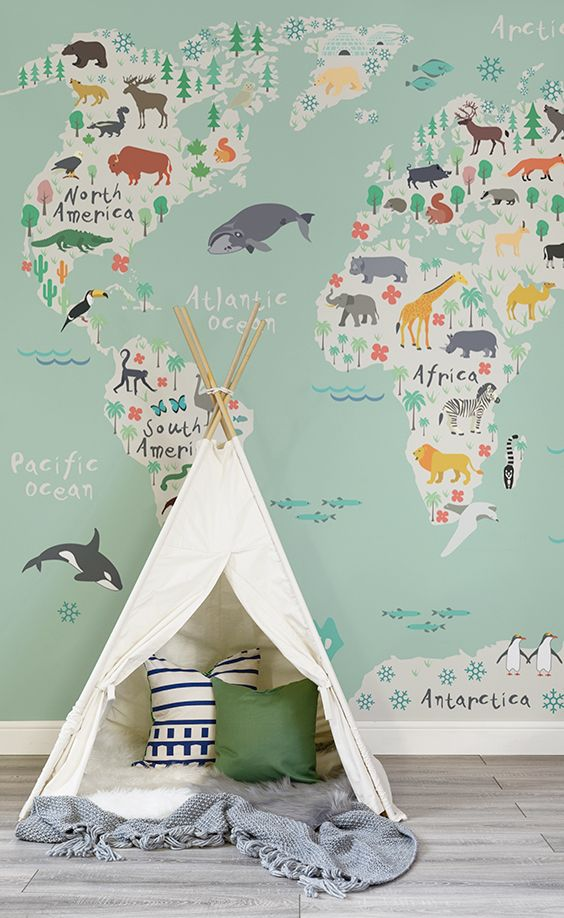 map wall mural will help your kid to learn geography and will look cool